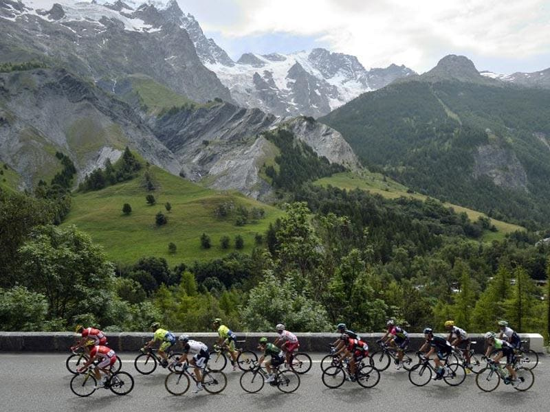 France, Risoul:  Cyclists ride in a breakaway during the 177 km fourteenth stage of the 101st edition of the Tour de France cycling race between Grenoble and Risoul on July 19, 2014. (AFP/Lionel Bonaventure)