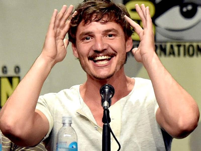 SPOILERS! Pedro Pascal made constant references to the way his character (the late Oberyn Martell) died in the last season by squeezing his head, as is seen here.