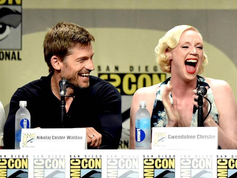 Nikolaj Coster-Waldau, who plays Jamie Lannister and Gwendoline Christie, who plays Brienne of Tarth in the series, are seen sharing a laugh. If only we could see them together in the show again!