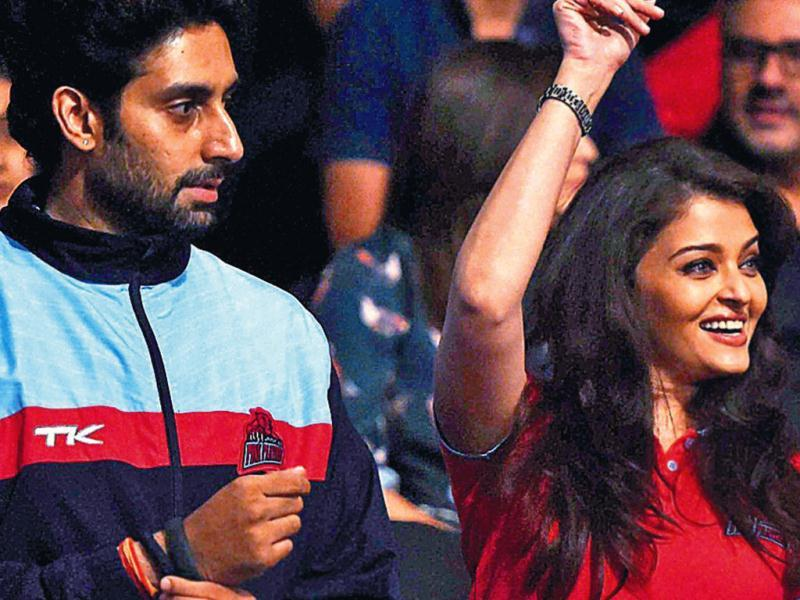 From Bollywood biggies Amitabh Bachchan, Shah Rukh Khan and Aamir Khan to master blaster Sachin Tendulkar — it was a big celeb gathering at a sporting event in Mumbai on Saturday evening. Actor Abhishek Bachchan was accompanied by wife and actor Aishwarya Rai and mother Jaya Bachchan at the starry kabaddi match, and Ash was seen cheering for her hubby's team.