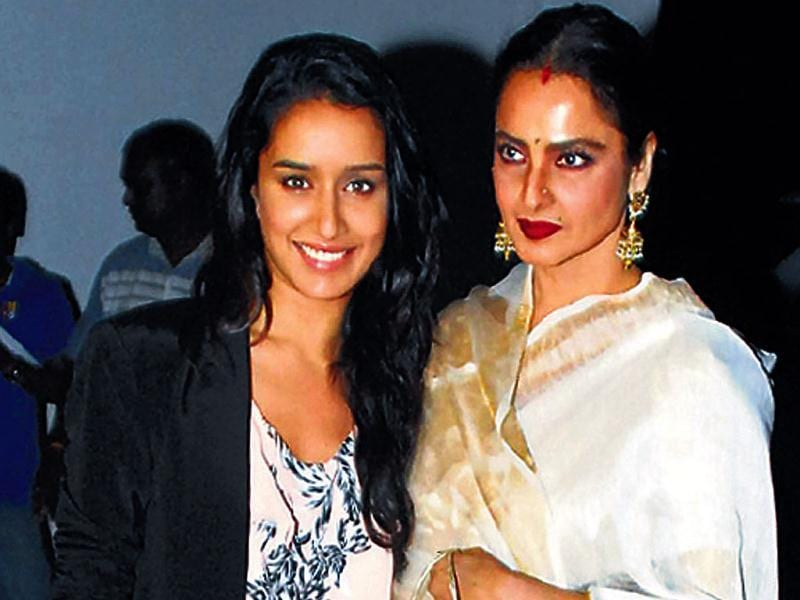 Actors Shraddha Kapoor and Rekha at a Bollywood do in Mumbai