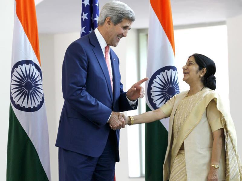 US Secretary of State John Kerry (L) shakes hands with India's External Affairs Minister Sushma Swaraj before the start of their meeting in New Delhi . (Arvind Yadav/HT Photo)