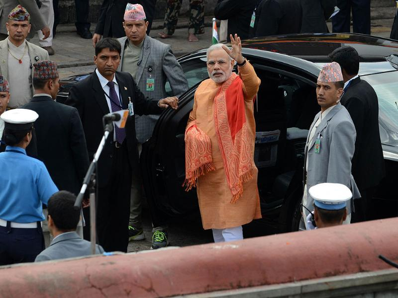 Prime Minister Narendra Modi arrives at the Pashupatinath Temple in Kathmandu. (AFP photo)