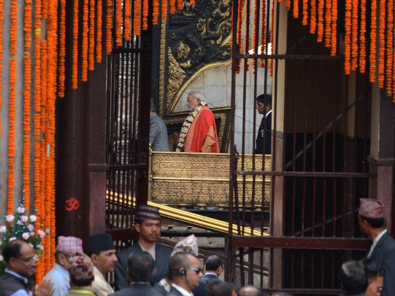 Prime minister Narendra Modi walks inside the Pashupatinath Temple in Kathmandu. (AFP photo)