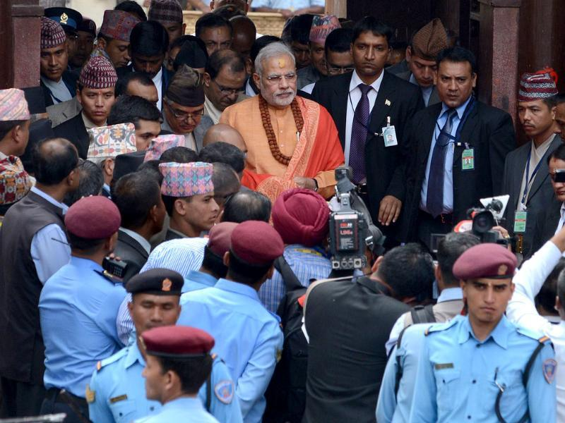 Prime Minister Narendra Modi leaves following his visit at the Pashupatinath Temple in Kathmandu. (AFP photo)