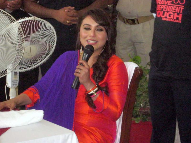 Bollywood actor Rani Mukherjee visited Orchha on Tuesday to promote her upcoming film 'Mardani'. (HT Photo)