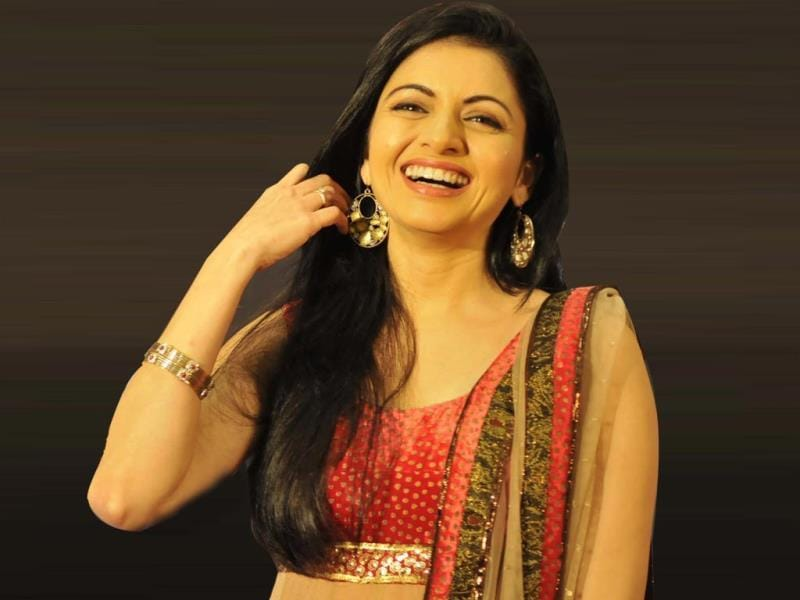 Actor Bhagyashree visited Bhopal on Tuesday to promote her upcoming TV soap 'Laut Aao Trisha'. (HT photo)