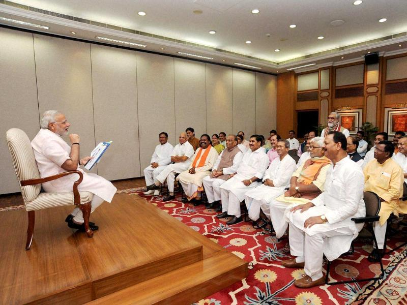 Prime Minister Narendra Modi at a meeting with Bihar and Chhattisgarh BJP MPs in New Delhi. (PTI Photo)