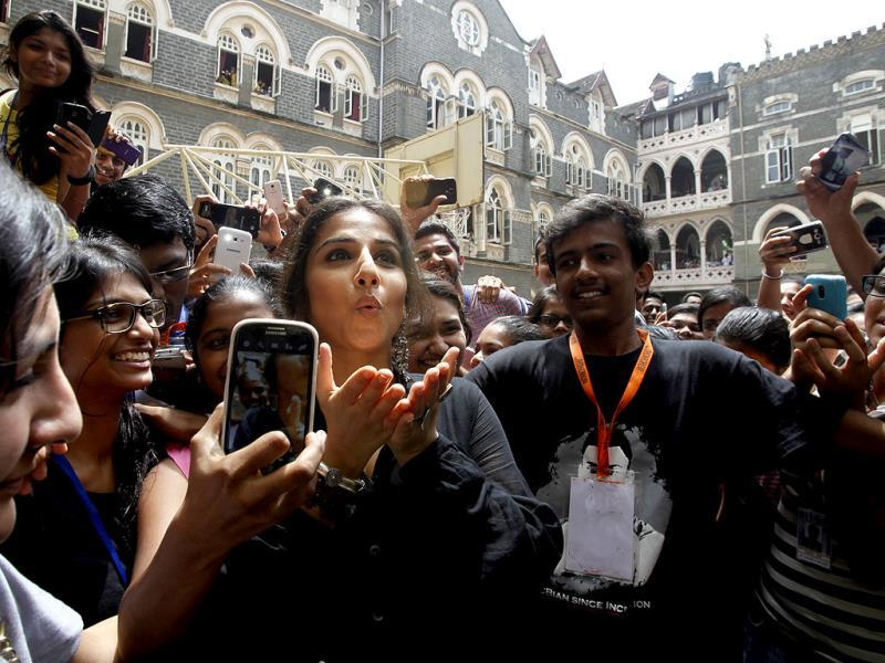 Vidya Balan during distribution of smart canes for visually challenged persons at St. Xavier's College, Mumbai. (Photo by Kunal Patil/HT)
