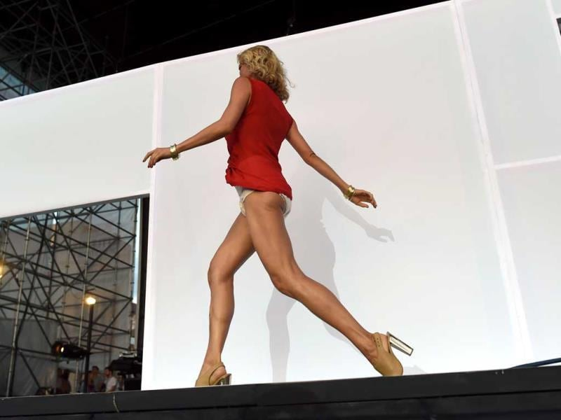A model arrives at Pier 97 in New York for the 'Drop your pants and dance for underwareness' to help support the 65 million Americans who experience bladder leakage by bringing the condition and depend underwear out of hiding. (AFP Photo)