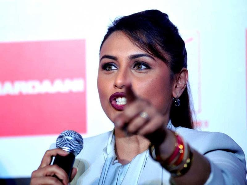 Rani Mukerji speaks during a promotional event for Mardaani. (AFP Photo)