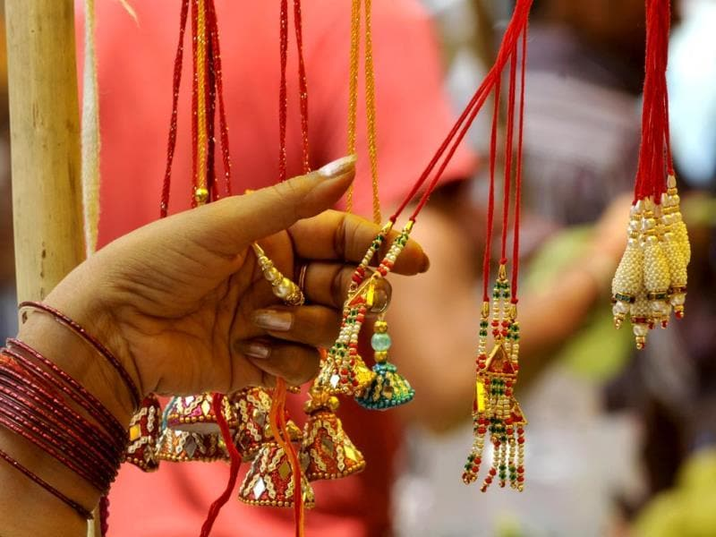 Women buying rakhis for their brothers to celebrate the festival of Rakshabandhan. (Sunil Ghosh/ HT photo)
