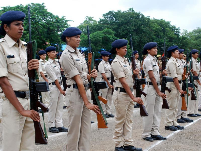 Women constables rehearse for Independence Day parade at a ground in Indore on Friday. (Arun Mondhe/HT photo)