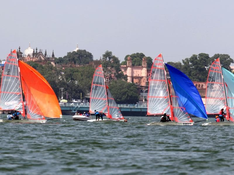 Sailors compete in the 1st 29er Inland National Sailing Championship being held at Upper Lake in Bhopal. (HT photo)