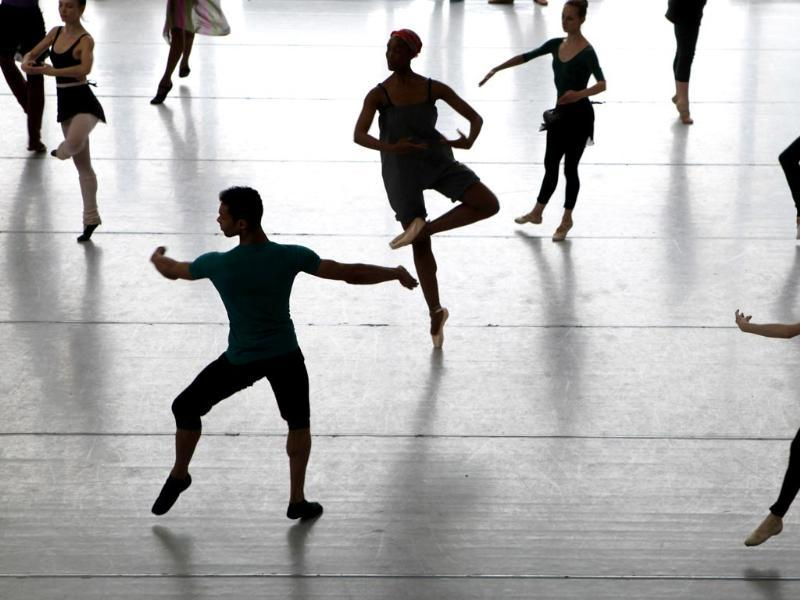 Dancers of the Joburg Ballet company attend classes in Johannesburg, South Africa. (AP Photo)
