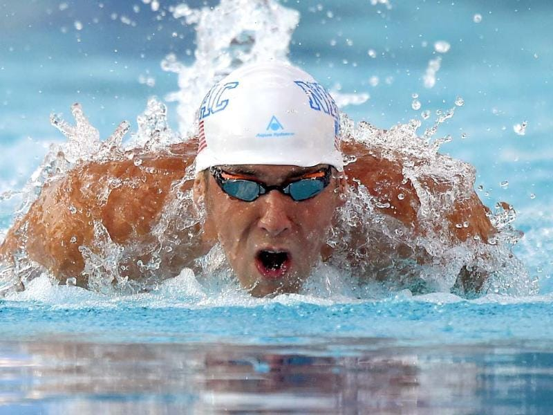 Michael Phelps swims the butterfly in the men's 200-meter individual medley final at the US nationals of swimming in Irvine, California. (AP Photo)