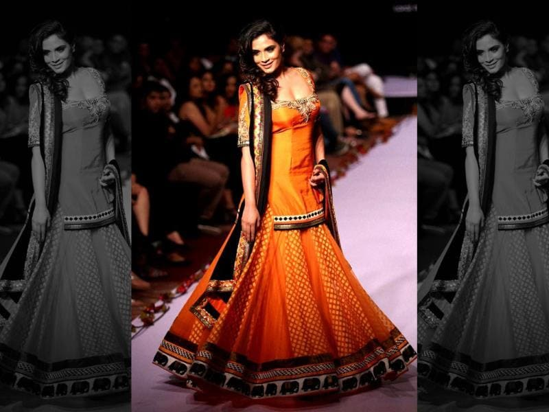 Actor Richa Chadda showcasing the creation of designer Archanna Kochhar during the 1st day of Bangalore Fashion Week in Bengaluru on August 7 (PTI Photo)