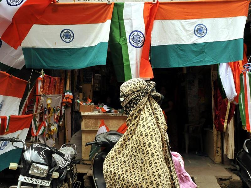 Shops in Indore are selling national flags on the occasion of upcoming Independence Day. (HT Photo/Arun Mondhe)