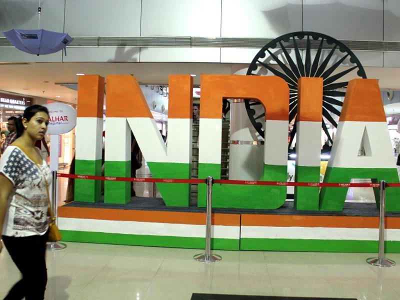 Shopping malls decorated for the occasion of Independence Day. (HT Photo/Shankar Mourya)