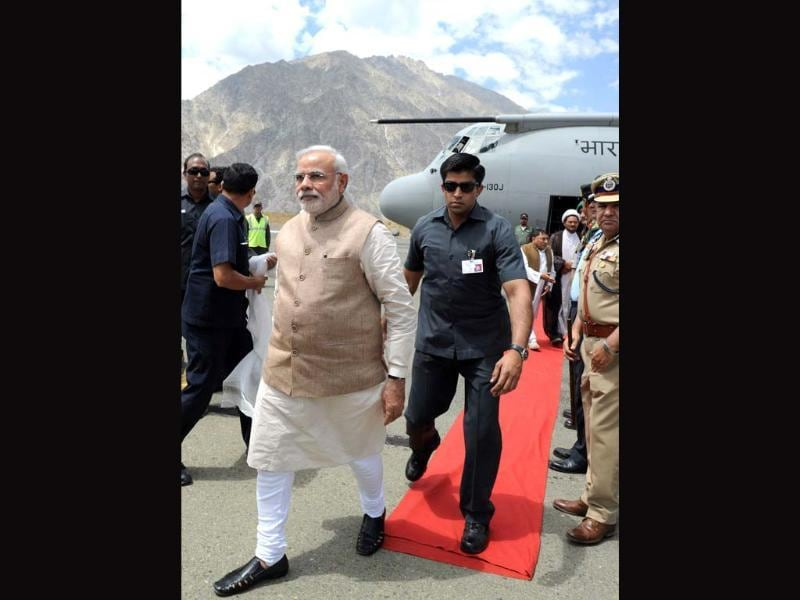 Prime Minister Narendra Modi arrives at Kargil Airport. (AFP Photo/PIB)