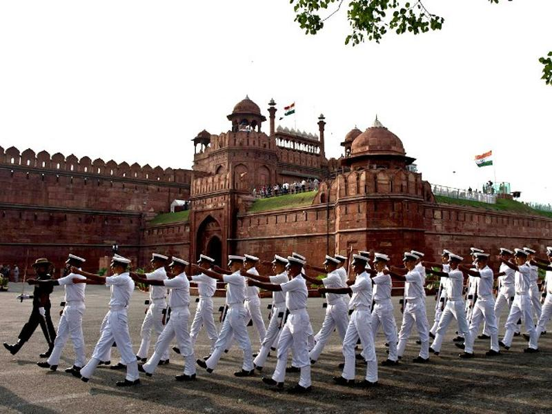An armed forces contingent marches past during the full dress rehearsal for the 68th Independence Day celebrations at the Red Fort in New Delhi. (AFP Photo)