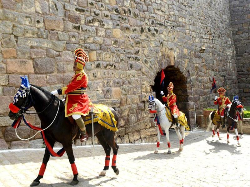 Mounted police personnel from Telangana take part in a full dress rehearsal for the 68th Independence day celebrations at Golkonda Fort in Hyderabad. (AFP Photo)