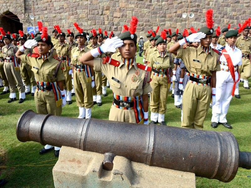 National Cadet Corps (NCC) personnel from Telangana take part in a full dress rehearsal for the 68th Independence day celebrations at Golkonda Fort in Hyderabad.(AFP Photo)