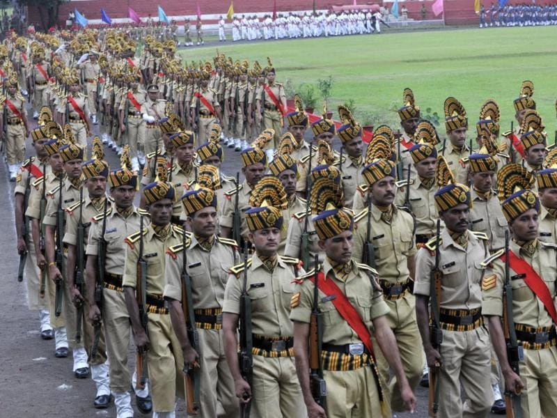 Dress rehearsal of Independence Day parade in Bhopal. (Praveen Bajpai/HT photo)