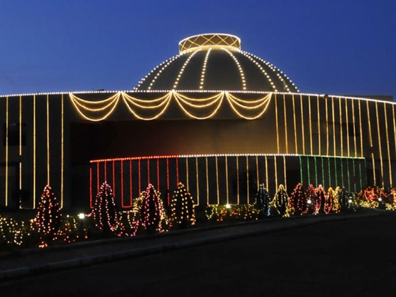Madhya Pradesh Vidhan Sabha lit up on the eve of Independence Day. (Praveen Bajpai/HT photo)