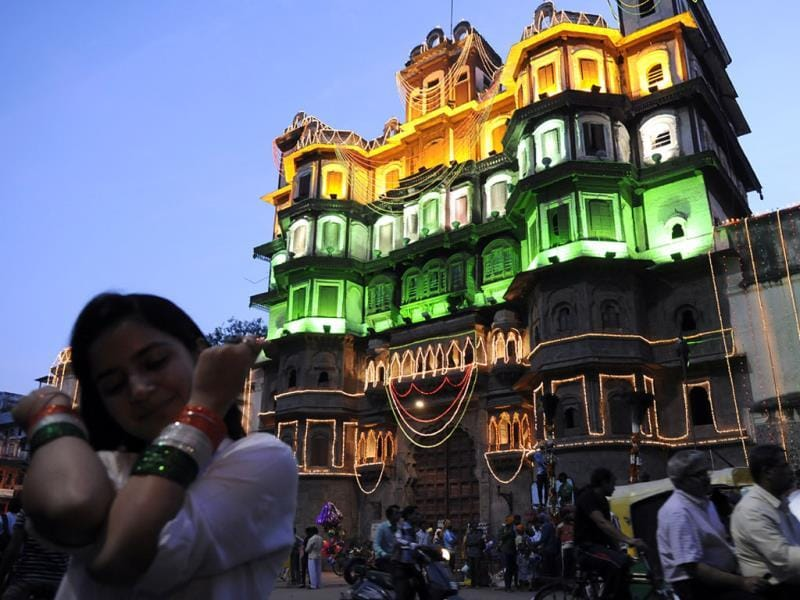 Rajwada in Indore illuminated on the eve of Independence Day. (Arun Mondhe/HT photo)