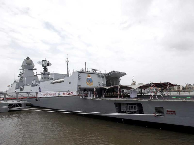 Newly commissioned warship INS Kolkata is seen docked after its commissioning ceremony at a naval base in Mumbai. (Reuters photo)