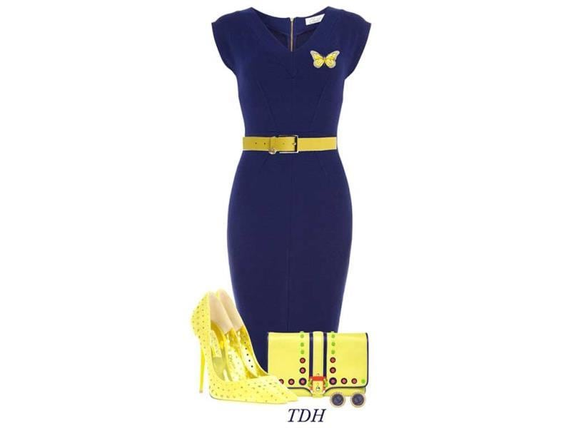A little contrast in your ensemble can never be out of fashion. Pair a navy blue dress like this one with bright yellow stilletoes to make a cut above the rest.