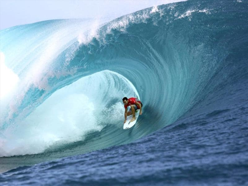 Australia's Nathan Hedge rides a wave during the 14th edition of the Billabong Pro Tahiti surf event, part of the ASP (Association of Surfing Professionals) world tour, in Teahupoo, on the French Polynesian island Tahiti. (AFP Photo)