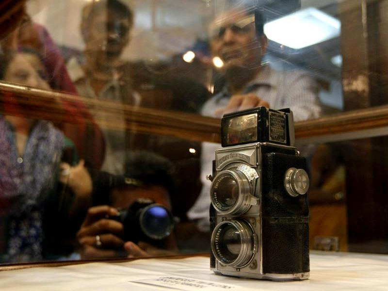 Antique cameras on display during an exhibition to mark World Photography Day at the IGNCA in New Delhi. (Virendra Singh Gosain/HT Photo)