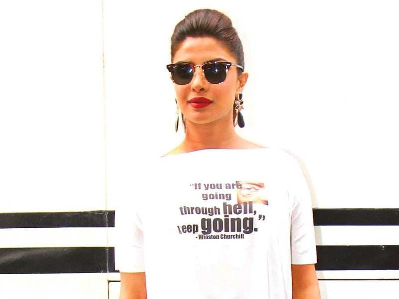 Priyanka Chopra spotted at a suburban film studio in Mumbai. (Photos: Yogen Shah)