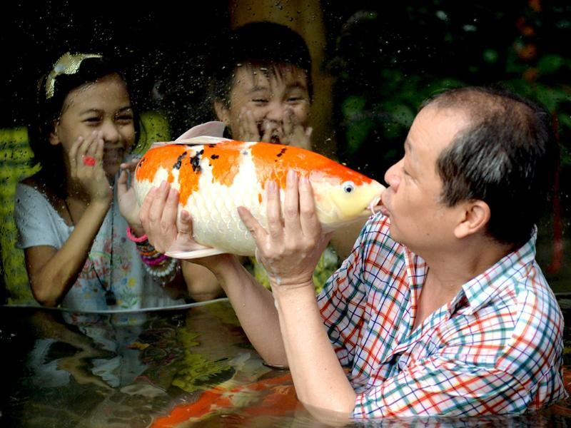 Zoo owner Manny Tangco kisses a Japanese Koi carp, while children look on inside an aquarium at a zoo in Manila. (AFP Photo)