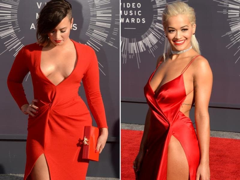 7. Ladies in red: Demi Lovato (left) and Rita Ora (right) providing the much appreciated oomph to the event. This is perhaps the first time we have seen Demi in such a bold avatar, needless to say, we love it.
