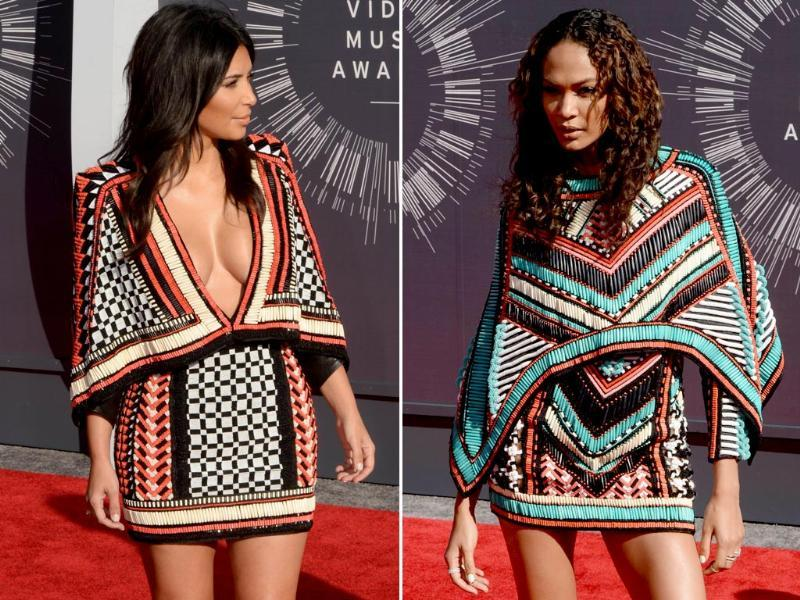 6. No VMA event is complete without an oops moment like one of these. We wonder who took inspiration from whom while choosing what to wear this evening. socialite Kim Kardashian (left) and model Joan Smalls (right) apparently have similar tastes in fashion.