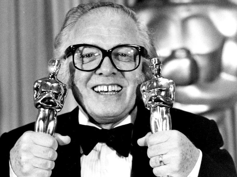 British actor and director Richard Attenborough holds his two Oscars for his epic movie Gandhi at the 55th annual Academy Awards in Los Angeles. (AP)