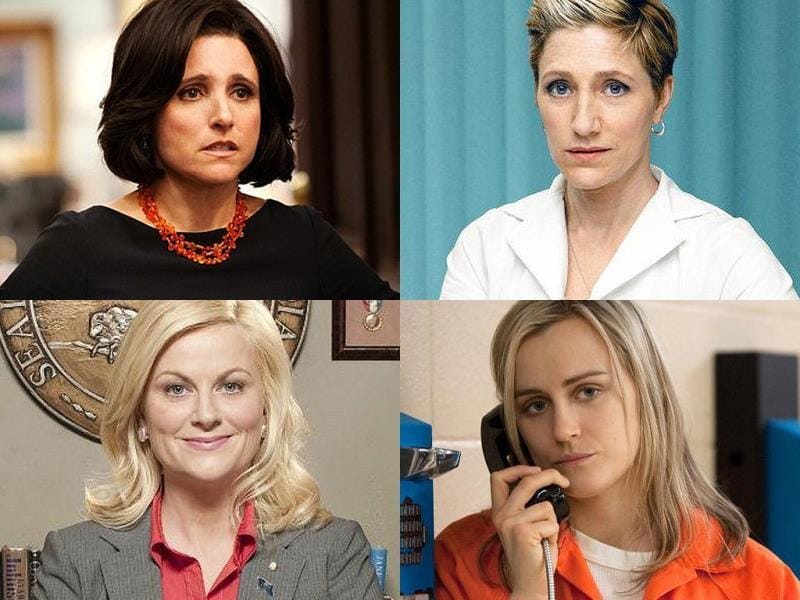 Outstanding Comedy Lead Actress:Julia Louis Dreyfus for Veep, Eddie Falco for Nurse Jackie, Taylor Schilling for Orange is the New Black, Amy Poehler for Parks and Recreation, Melissa McCarthy for Mike and Molly and Lena Dunham for Girls.