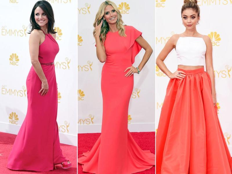 US television's biggest stars hit the red carpet in style as they arrived at the 66th Emmy Awards at the Nokia Theatre in Los Angeles, USA. And yet again, the colour red reigned on the red carpet. Ladies in red Heidi Klum in Zac Posen, Julia Louis-Dreyfus and Sarah Hyland in Christian Siriano sport their fashionable best at the do. (AFP)