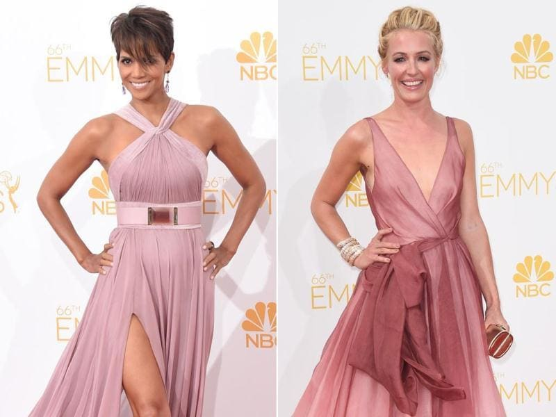 Halle Berry looked beautiful and ageless as always. Wearing a flowing mauve gown with a cinched waist, the 48-year-old actor looked absolutely phenomenal posing on the Emmys red carpet. TV host Cat Deeley too looked pretty in her pale pink gown. (AFP)
