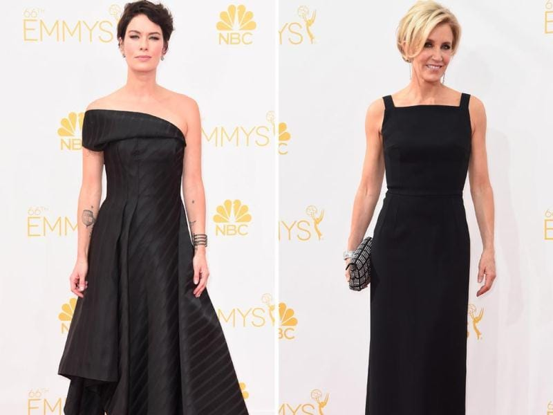Queen Cersei reigns supreme! Game of Thrones actor Lena Headey stunned in a simple and sexy black dress at the Emmys. Desperate Housewives star Felicity Huffman too went the black route, sporting a sleek black column gown and studded clutch. (AP)