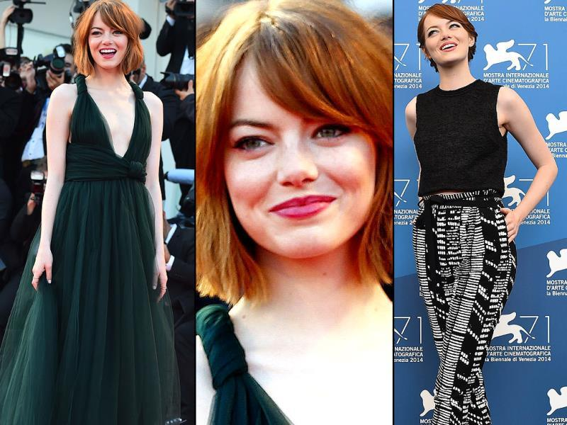 Emma Stone arrives for the screening of the movie Birdman during the opening ceremony of the 71st edition of the Venice Film Festival in Venice, Italy, Wednesday, August 27, 2014. (Agencies)