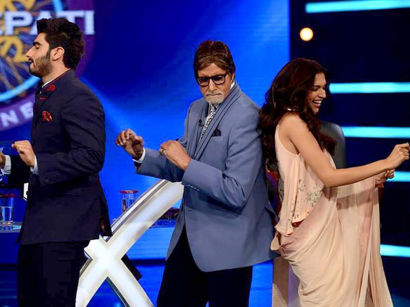 Arjun Kapoor, Deepika Padukone and Amitabh Bachchan groove to Shake Your Bootiya from Finding Fanny on the sets of KBC 8.