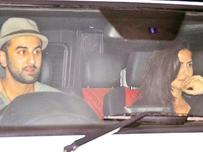 While Bollywood's new 'it' couple Katrina Kaif and Ranbir Kapoor are rarely spotted together, paparazzi caught the two leaving filmmaker Karan Johar's latest star bash together on Friday night at 2am. (HT Photo/ Yogen Shah)
