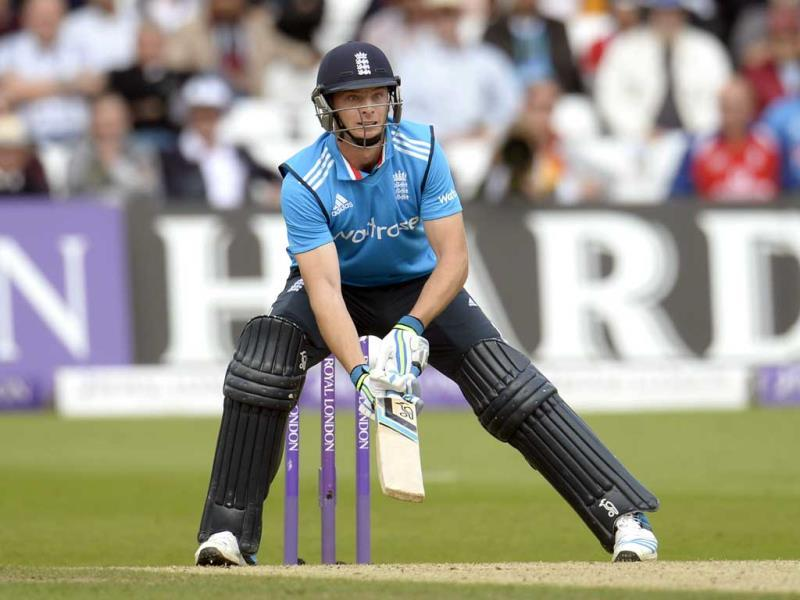 Jos Buttler prepares to hit the ball during the third ODI between England and India at Trent Bridge in Nottingham. (Reuters Photo)