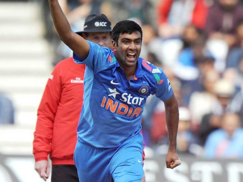 R Ashwin celebrates taking a wicket during the third ODI between England and India at Trent Bridge in Nottingham. (AFP Photo)