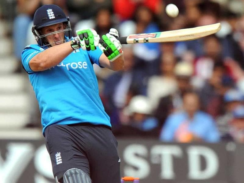 James Tredwell plays a shot during the third ODI between England and India at Trent Bridge in Nottingham. (AFP Photo)