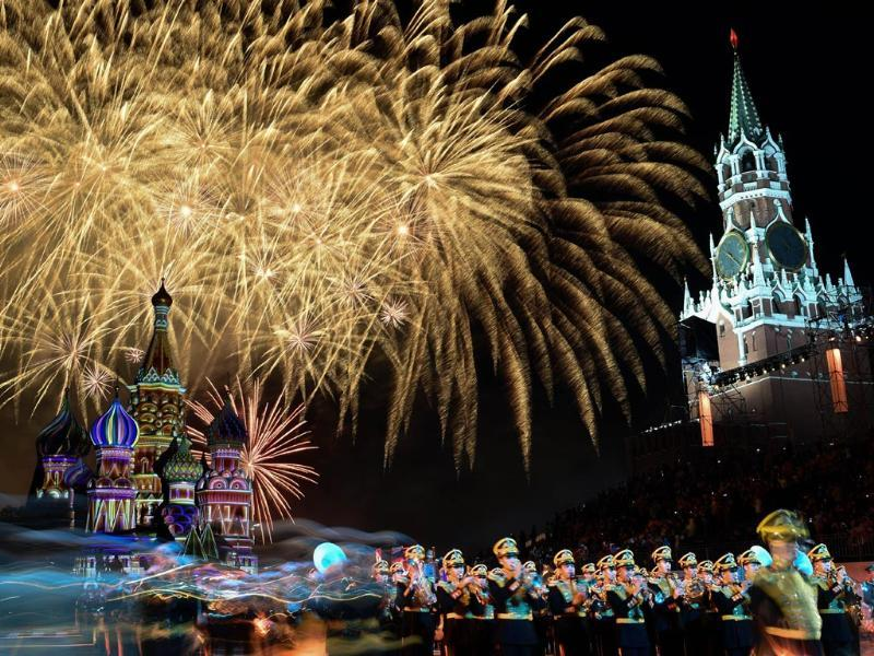 Fireworks light the sky above Saint Basil's Cathedral during the